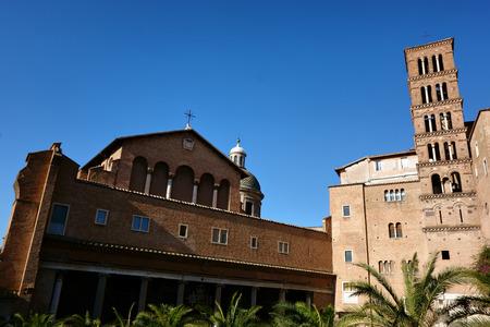 romanesque: Basilica di Santi Giovanni e Paolo romanesque facade and Bell tower, Rome, Italy