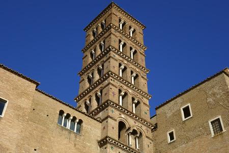 The romanesque Bell Tower of Santi Giovanni e Paolo church, Rome, Italy