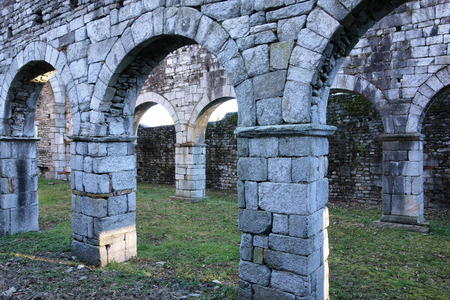 martino: ancient stone ruins of the San Martino Church in Gattico , Italy