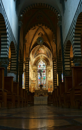 PRATO, ITALY - JANUARY 17, 2015: Santo Stefano Cathedral interior, detail of the central nave