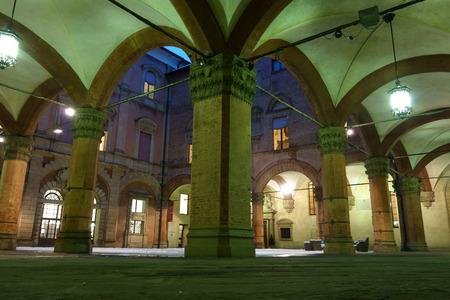 courtyard: The inner courtyard of the Archiginnasio palace in Bologna, Italy
