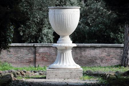 Ancient Big Stone Vase In Villa Celimontana Public Park Rome