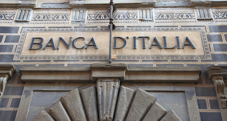 AREZZO - JANUARY 12, 2014: fa�ade detail of the former Bank of Italy palace an ancient Art Nouveau building in the medieval old town