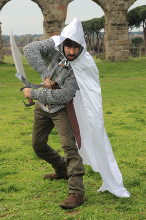 chivalry: Medieval knight under ancient Roman ruins