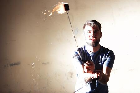 juggler: fire juggler with spinning flames