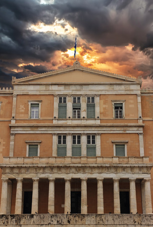 goverment: Parliament Building at Capital Cities under stormy sky, Athens, Greece