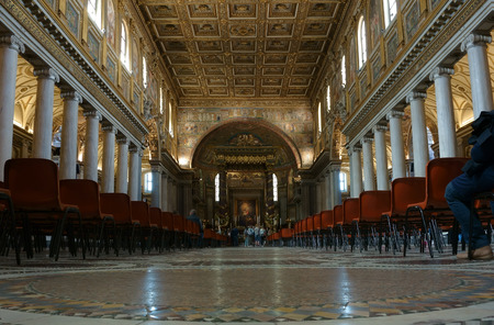 nave: ROME, ITALY - APRIL 9, 2015:  Interior of the church of Santa Maria Maggiore, the central nave.