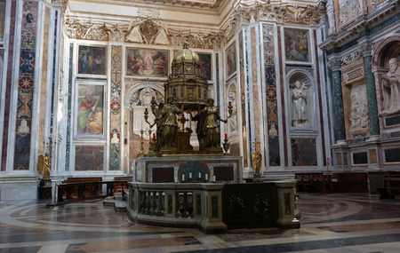 tabernacle: ROME, ITALY - APRIL 9, 2015:  Interior of the church of Santa Maria Maggiore, the Tabernacle by Ricci 16th century artist Editorial