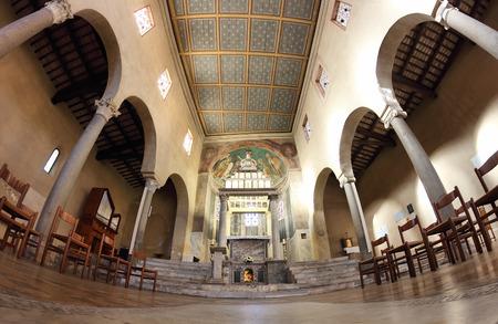 ROME, ITALY - APRIL 21, 2015:  San Giorgio al Velabro ancient romanesque church, the central nave