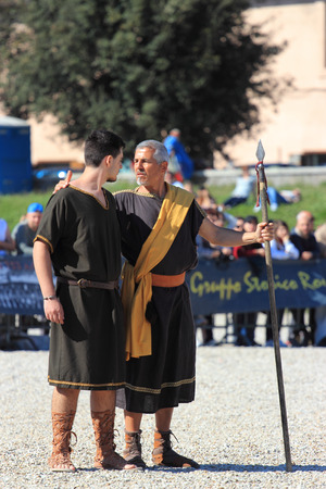 the founder: ROME, ITALY - APRIL 21, 2015:  Rome Foundation Anniversary historical reconstruction, Aeneas and his son Ascanio founder of Alba Longa city