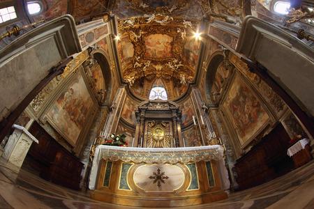 ROME, ITALY - MAY 7, 2015:  Baroque altar of the Santa Maria dell Orto church in Rione Trastevere Editorial