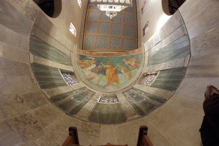italian fresco: ROME, ITALY - APRIL 21, 2015:  the apse of the ancient church of Saint George in Velabrum Editorial