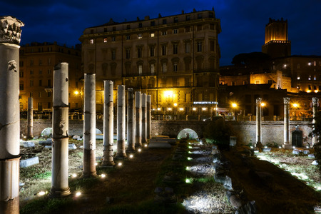 cinematographer: ROME, ITALY - MAY 16, 2015: In honor of Rome's 2,768th birthday, Oscar winning cinematographer Vittorio Storaro design illumination of few top cultural landmarks including the Trajan Forum Editorial