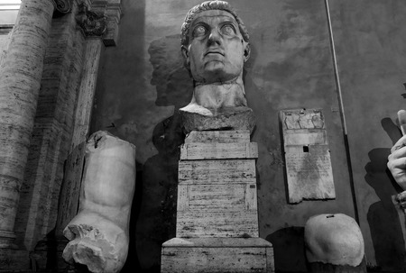 colossal: ROME, ITALY - MAY 16, 2015: colossal acrolithic statue of the late Roman emperor Constantine the Great on the Capitoline Hill