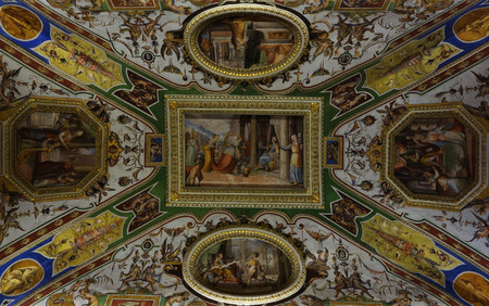 christina: ROME, ITALY - MAY 3, 2015: ceiling of the Christina, Queen of Sweden, room in Corsini Palace art gallery