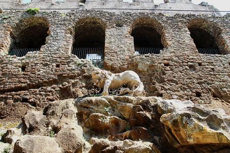 bernini: Bernini lion in the abandoned ancient town of Monterano, Viterbo, Italy Stock Photo