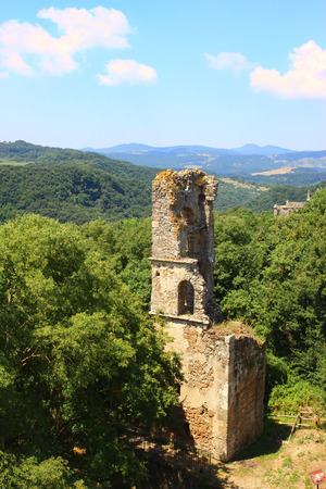 tuscia: bell tower ruins in Monterano ancient abandoned town, Viterbo, Italy