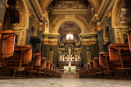nave: NOVARA, ITALY - JUNE 5, 2015: San Marco XVII Church, interior view of the central nave