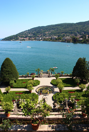 bella: STRESA, ITALY - JUNE 7, 2015: the beautiful view of Maggiore lake from the Italian Gardens in the Isola Bella Editorial