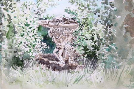 fountain in Villa Sciarra, public park in  Rome, Italy. watercolor illustration