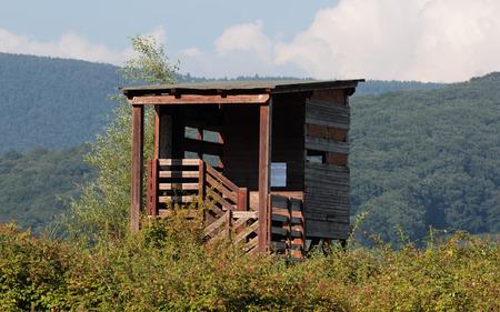 birdwatching: bird-watching hut along Vico Lake, Italy Stock Photo