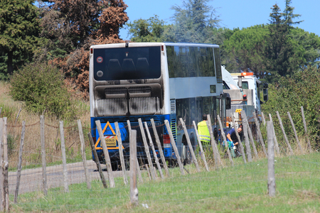 viterbo: SUTRI, ITALY - AUGUST 22, 2015:  Cotral bus from Rome caught fire on the Cassia road towards Viterbo