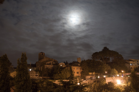 viterbo: the July 31, 2015 blue Moon over Viterbo, Italy. The Blue Moon is only when there are 2 full moons in one Month. Stock Photo