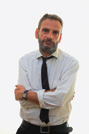 formal shirt: man in white shirt and tie over white background Stock Photo