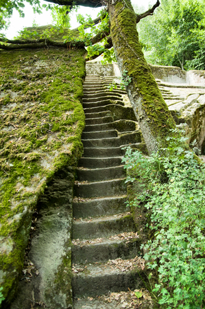 etruscan: ancient etruscan pyramid in the Italian forest, Bomarzo, Italy Stock Photo