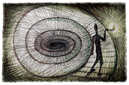 путешествие: внутренний путешествие, психология иллюстрации концепции