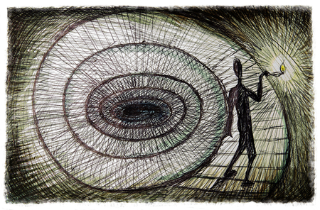 El viaje interior, el concepto de la psicología ilustración Foto de archivo - 47211803