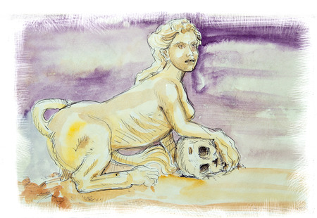 myth: Sphinx the Ancient Greek myth, head of a woman with a lion body watercolor