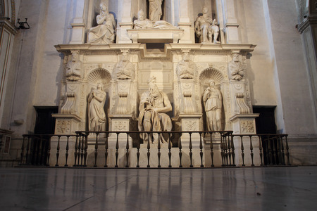 pope: ROME, ITALY - OCTOBER 8, 2015: St. Peter in Vincoli, funeral monument for Pope Julius II with the famous Moses by Michelangelo Editorial