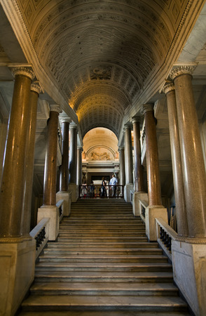 pio: VATICAN CITY, VATICAN STATE - SEPTEMBER 27, 2015: People in the Pio Cristiano Museum, one of the Vatican Museums