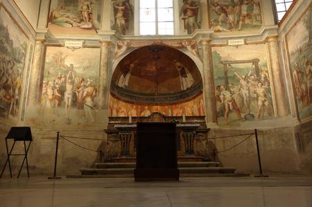 primus: ROME, ITALY - SEPTEMBER 26, 2015: church of Santo Stefano Rotondo, chapel of the Saints Primus and Felician, frescos by Antonio Tempesta 16th century Editorial
