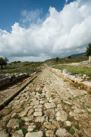 stone road: Ancient roman road, situated on the Volscian mountains, overlooking the Pontine Marshes, Italy Stock Photo