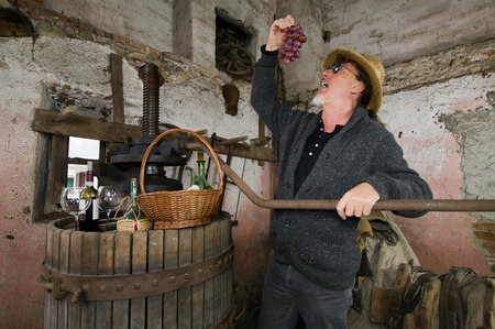 winemaker: winemaker next to old press testing grapes Stock Photo