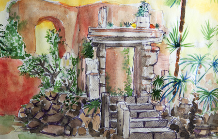 villa: Villa Celimontana watercolor sketch on the Celian Hill in the south-east of Rome , Italy
