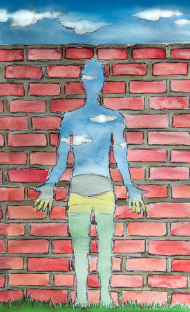 dali: human shaped window, inner emptiness concept watercolor illustration
