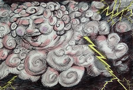 thunder storm: Cartoon Thunder storm God  sketch illustration