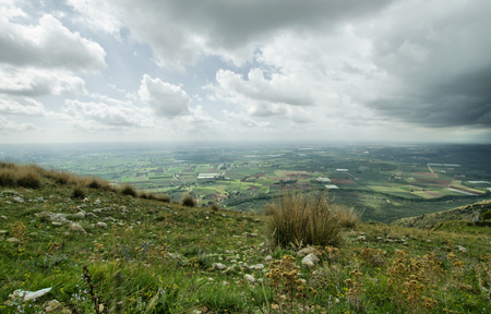 pontine: The Pontine Marshes as view from the Volscian mountains Stock Photo