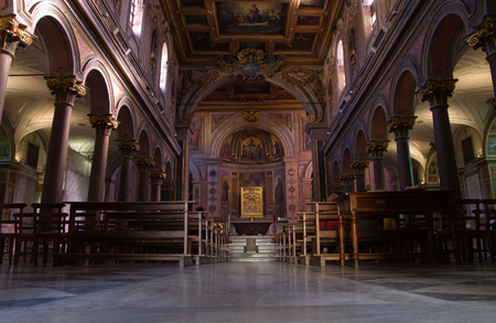 tiber: ROME, ITALY - DECEMBER 11, 2015: interior of  The Basilica of St. Bartholomew on the Island Editorial