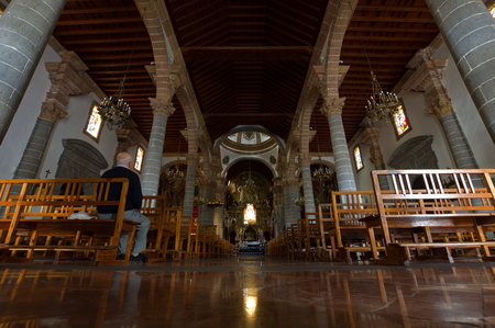 pino: TEROR, CANARY ISLANDS - NOVEMBER 17, 2015: people in the Basilica of the Virgen del Pino, Patron of the Diocese of the Canary Islands