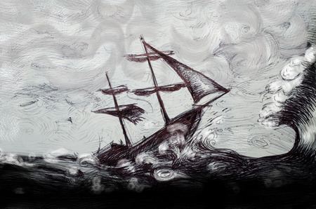 ocean storm: classic boat illustration, sailing boat in the storm