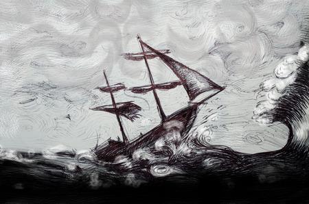 barche: classica illustrazione barca, barca a vela nella tempesta