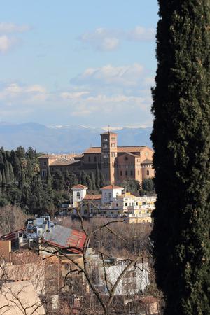 san: Sant Anselmo all Aventino 19th century church on Aventine hill, Rome, Italy
