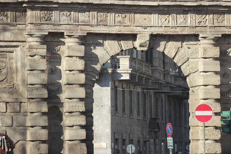 16th century: detail of the gate Porta Romana, the 16th century monumental arch in Milan, Italy