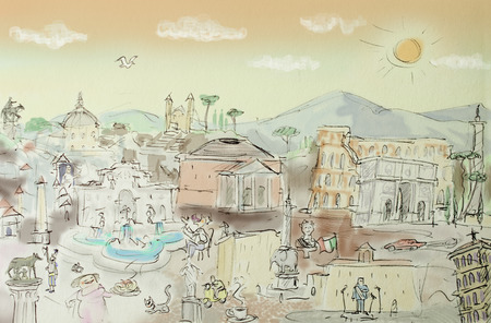 overview: Rome italian Capital illustration in a cartoon overview Stock Photo