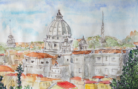 Rome overview watercolor illustration with Vatican dome Stock Photo