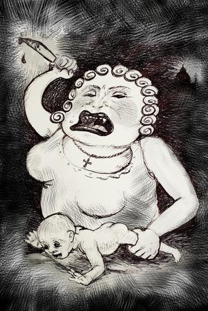 borderline: Borderline mother abuse ,psychology concept illustration Stock Photo